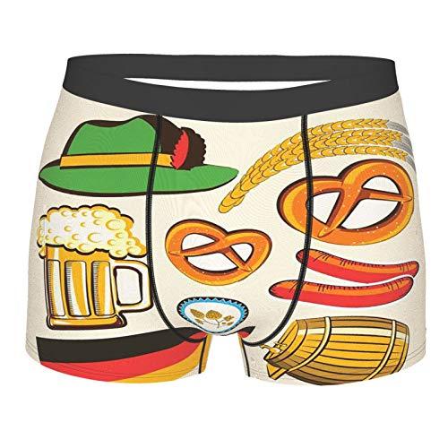 MJIAX Männerunterwäsche,Oktoberfest Symbole Weizenwurst Bier und Brezeln Bunte bayerische Anordnung, Boxershorts Atmungsaktive Komfortunterhose Größe XXL