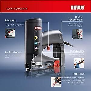 Novus Elektrotacker J-105, Unterlademechanik, Schlagkrafteinstellung, Distanzanschlag verarbeitet Klammern und Nägel