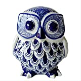 Blue and White Porcelain Owl OrnamentHome Decorative OrnamentsChinese Classical Style Ceramic Craft