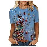 VCAOKF Camiseta de manga corta para mujer con estampado de verano de verano y estampado floral en tallas S/M/L/XL/XXL/XXXL azul XL