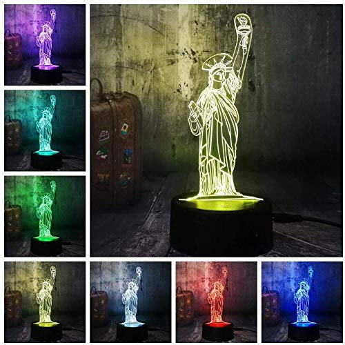 Night Lights American Symbol Statue of Liberty 3D Led Night Light USB Control Desk Lamp Home Decor Xmas Festival Gift Birthday Present