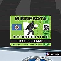 Minnesota Bigfoot Hunting Permit ミネソタ州 ビッグフット ハンティングパーミット 狩猟許可 防水 車用 スーツケース用 Sasquatch Lifetime