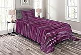 ABAKUHAUS Magenta Tagesdecke Set, Vintage Strickmuster, Set mit Kissenbezügen Waschbar, für Einselbetten 170 x 220 cm, Fuchsienfarben Violett