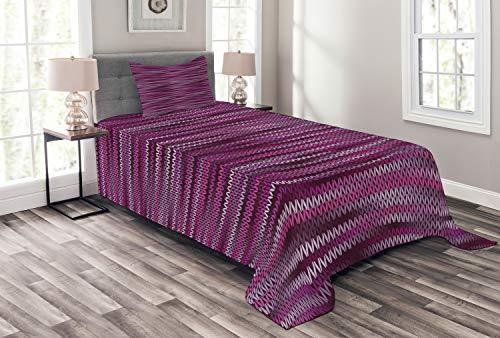 ABAKUHAUS Magenta Bedsprei, Vintage Brei Patroon, Decoratieve Gewatteerde 2-delige Spreiset met 1 Kussensloop, 170 x 220 cm, violet Fuchsia