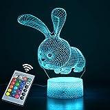 Luce notturna 3D per bambini, 16 tipi di luci 3D che cambiano colore controllate da due...