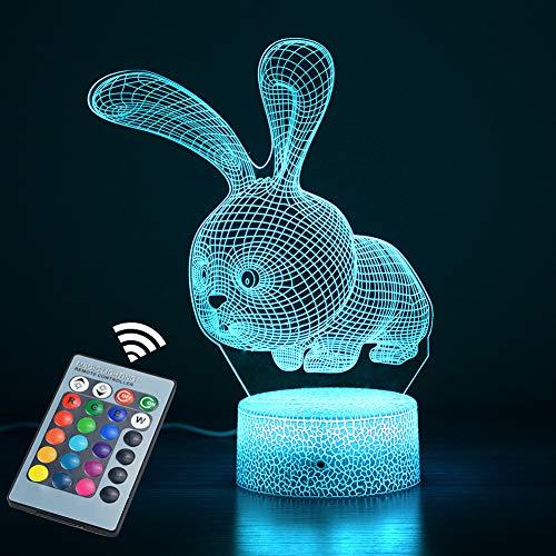 Luce notturna 3D per bambini, 16 tipi di luci 3D che cambiano colore controllate da due tipi di tocco e telecomando, adatte per regali di festa in camera da letto per bambini