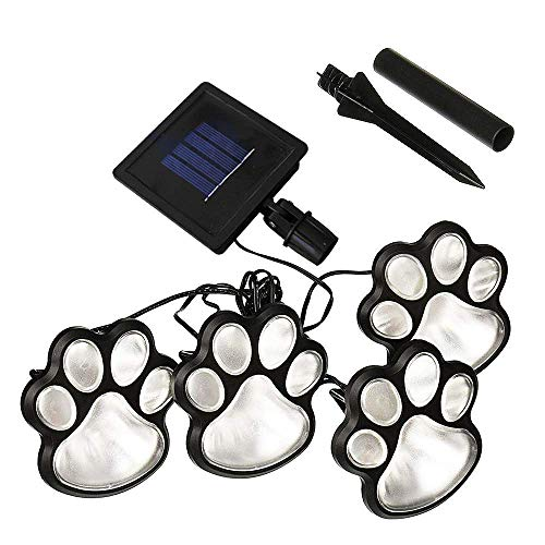 Lopbinte LED Claw Print Solar Lawn Lights, Set of 4 Dog,Cat,Puppy Animal Garden Lights Lamp for Pathway,Lawn,Yard,Outdoor Decorations-Solar (White)