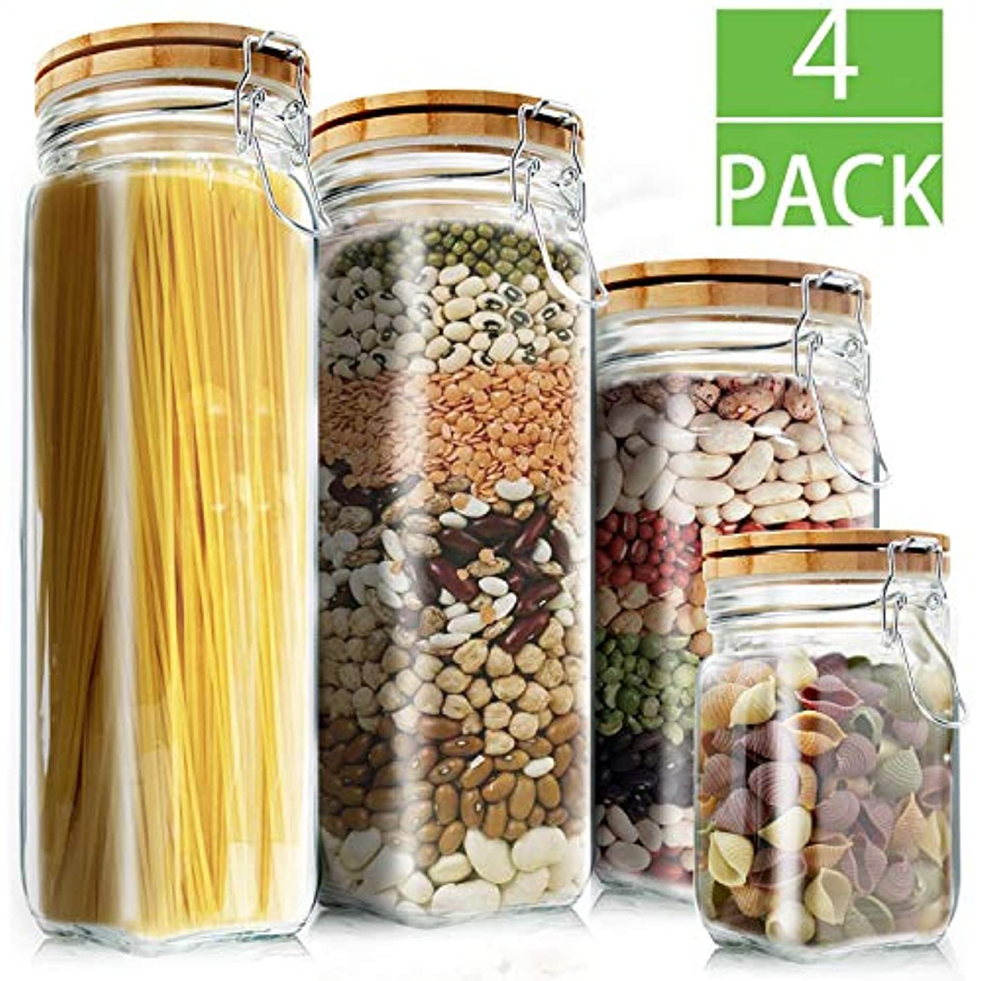 Food Storage Containers Set Kitchen Storage Jars Elegant Life Clear Glass Airtight Canister Set with Airtight Clamp Caps(4 Packs, 5.5L)