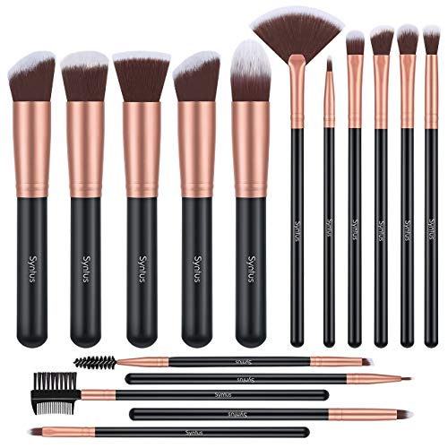Syntus Makeup Brush Set Premium Synthetic Foundation Powder Kabuki Blush Concealer Eye Shadow 16 Pcs Makeup Brushes Rose Golden
