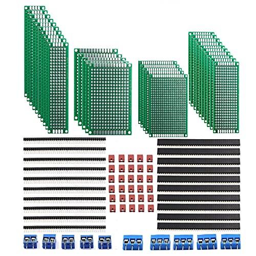 DaFuRui 28Pcs Prototipo de placa PCB de doble cara 4 tamaños Kit y 20Pcs 40 Pin 2.54mm Conector de cabezal macho y hembra + [5Pcsx2P...