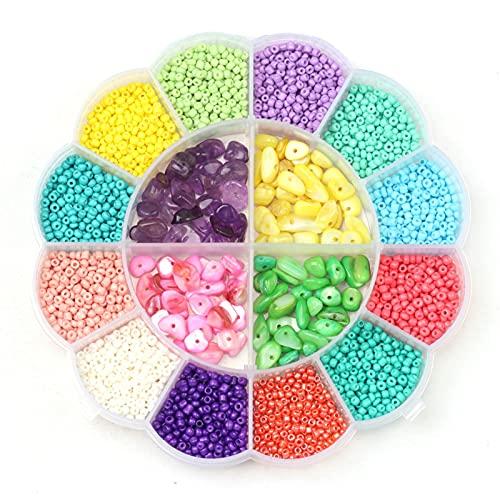 Kit de joyería Cuentas de semillas de vidrio para kit de fabricación de joyas y cuentas de letras de alfabeto completo para la fabricación de collar de pulsera, cuerdas de cuerdas elásticas, encantos