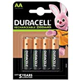 Duracell Rechargeable AA 2500 mAh Prericaricate, Batterie Stilo Ricaricabili 2500 mAh, Con...