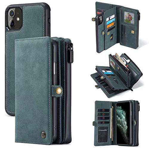 "CaseMe for iPhone 11 Wallet Case, Durable Handmade PU Leather Zipper Detachable Magnetic Phone Case for iPhone 11 (6.1"") Case Wallet Clutch Purse with 15-Card Slots Holder for Women Men, Blue-Green"