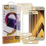 Guran [3 Paquete Protector de Pantalla para Samsung Galaxy A5 2017 A520F Smartphone Cobertura Completa Protección 9H Dureza Alta Definicion Vidrio Templado Película - Dorado