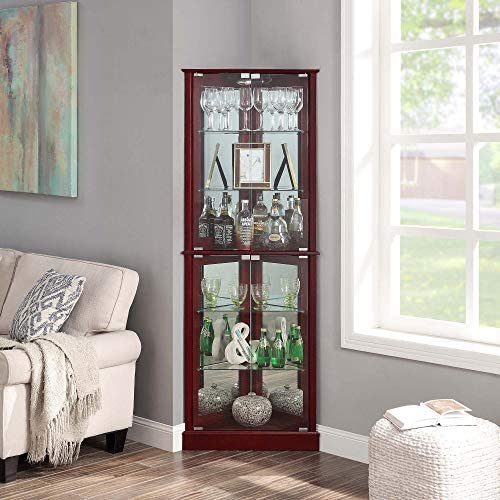 BELLEZE Woody Lighted Corner Curio Cabinet Tempered Glass Door 6 Shelves Cherry product image