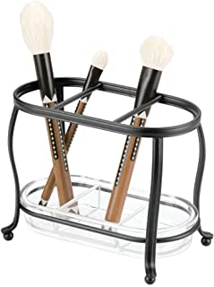 mDesign Decorative Makeup Brush Storage Organizer Tray Stand for Bathroom Vanity Counter Tops, Dressing Tables, Cosmetic Stations - 3 Sections with Removable Bottom Tray - Black/Clear