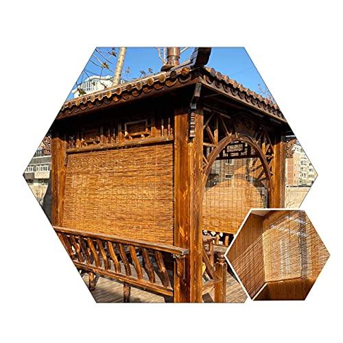 YAO XING Cortinas de Bambú As de la Ventana de la Ventana-Terraza Reed Shades-Pavilion Partition Roll Up As, a Prueba de Humedad, Tonos Resistentes a la Intemperie, con Tableros de Bambú Y Ganchos, W