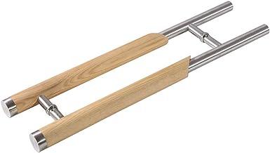 JF-leuningen roestvrij staal massief hout glas deurgreep/Hotel Push-pull deurgreep/huis houten deurklink - 2 kleuren, 4 le...