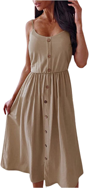 Summer Dresses Women Casual Sleeveless O-Neck Solid Color Buttons Mid-Calf Dress Maxi Dress Sundress Plus Size Beach se Khaki