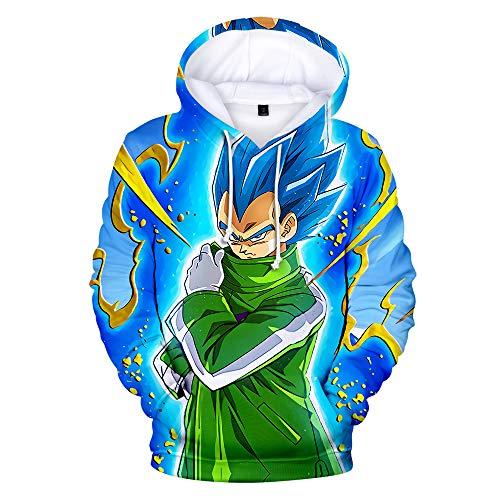 HXPainting Sudadera con Capucha Pullover Estampado Digital 3D Manga Larga Dragon Ball Super Saiyan God Vegeta Unisex Hoodie Suéter Blusa De Bolsillo Ropa De Sport, XXXL