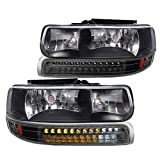 Spec-D Tuning Black Housing Clear Lens Headlights + LED Bumper Lights for 1999-2002 Chevy Silverado 2000-2006 Tahoe Suburban Head Light Lamp L+R Pair