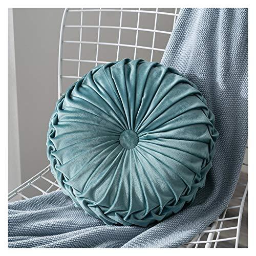 Home Textile Plissee Runde Massivfarbkissen Pouf Wurfhaus Weiche Kissen (Color : Light Blue)