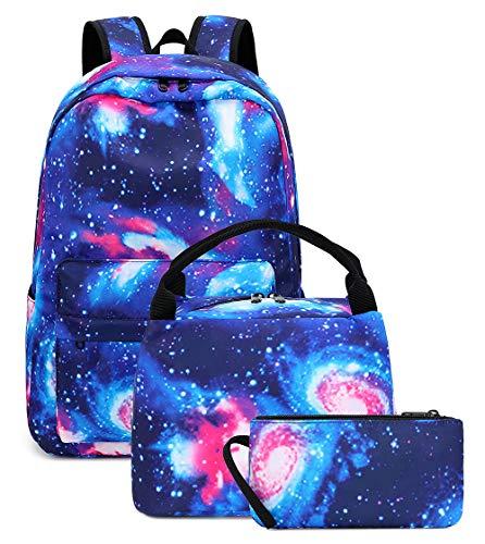 Galaxy School Backpack Students Casual School Bookbag for Teens Girls Boys (E0087-Blue)