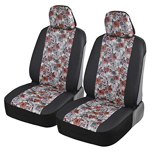BDK White Floral Print Faux Leather Car Seat Covers, Front Seats Only – Flower Pattern Front Seat Cover Set, Sideless Design for Easy Installation, Universal Fit for Car Truck Van and SUV