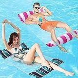 FANIER Hamaca Flotante Piscina, 2Pack Hamaca de Agua 4 en 1 Piscina Tumbona de Inflar para Adultos, Tumbona Hinchable Colchoneta Hinchable Flotador Piscina Playa,Verde Oscuro/Rojo Rosa