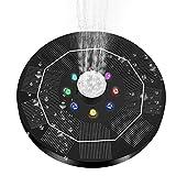 KLOVA Bomba de Fuente Solar Unknows para baño de pájaros Bomba de Agua con 8 Luces LED 6 boquillas para Piscina de Estanque de jardín