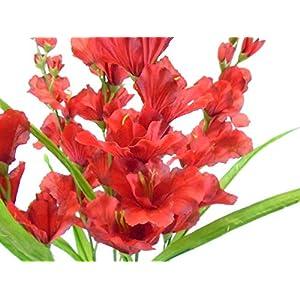 26″ Bouquet Red Gladiolus Bush Artificial Silk Flowers LivePlant