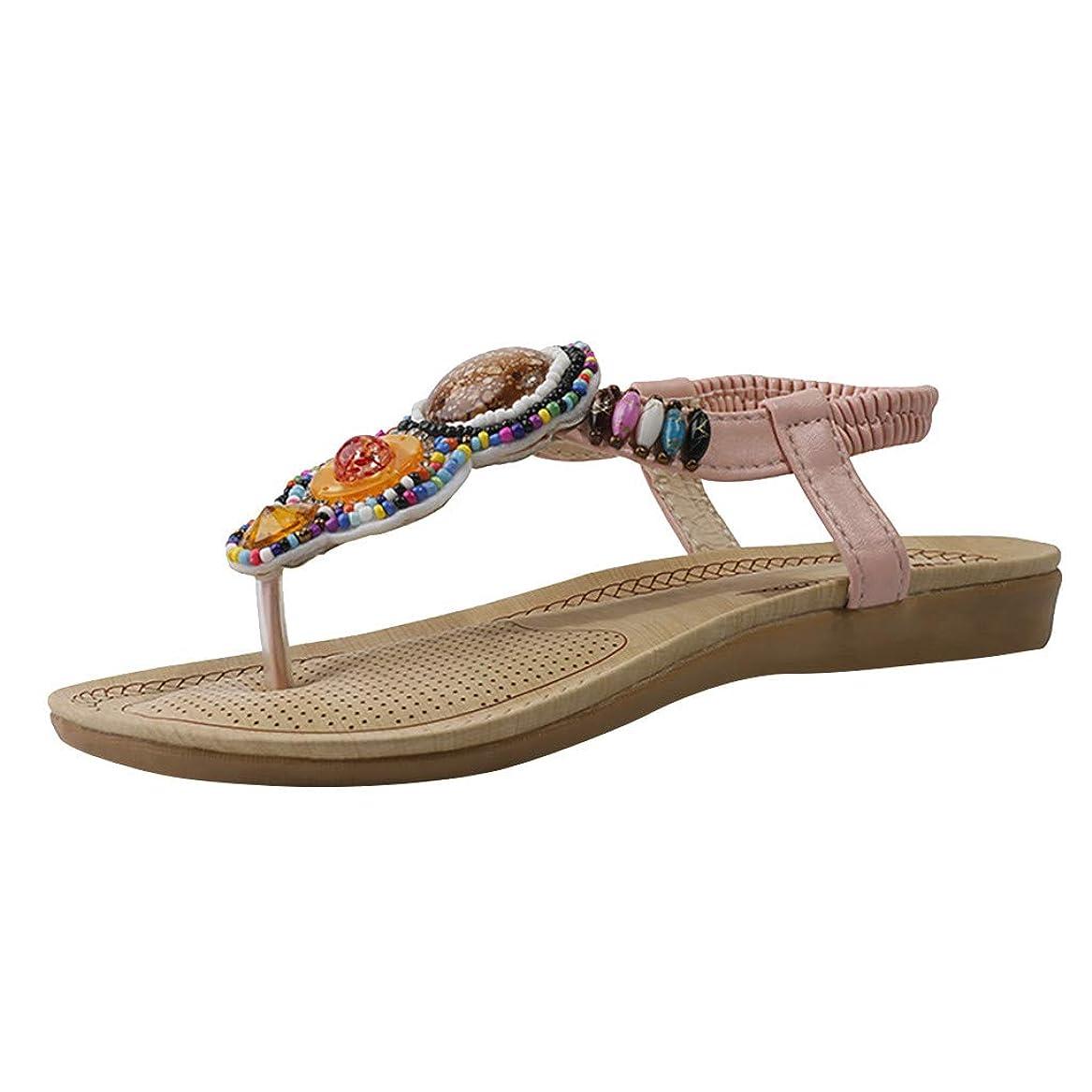 バックグラウンド敬な穿孔するビーチサンダル Foreted ぺったん ストラップ 歩きやすい 通気性 夏 靴 ファッション フラットパンプス 疲れにくい 足涼しげ ボヘミアンテイスト