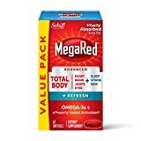 Omega-3 Blend Total Body + Refresh 500mg Softgels, MegaRed (65 count in a bottle), Easily Absorbed Krill Oil, To Support Your Heart, Joints, Brain & Eyes