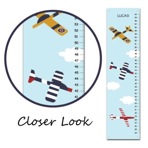 Amazon Com Airplane Personalized Growth Chart For Kids Children Height Chart Ruler Chart Boys Handmade