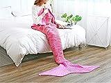 Yppss Meerjungfrauen-Decken, Geschenk für Frauen, Meerjungfrauen-Decke, Strickdecke, Winter, für Sofa, Camping, Auto, Wohnzimmer, Rose, 180 * 90cm