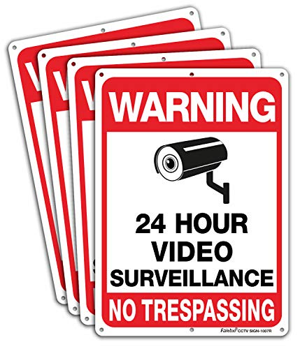 Faittoo 4-Pack Video Surveillance Sign, No Trespassing Metal Reflective Warning Sign, 10 x7 Inches 0.40 Aluminum Indoor or Outdoor Use for Home Business CCTV Security Camera,UV Protected & Waterproof