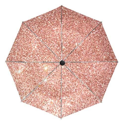Paraguas de Viaje pequeño a Prueba de Viento al Aire Libre Lluvia Sol UV Auto Compacto 3 Pliegues Cubierta de Paraguas - Lámpara Vintage Navidad