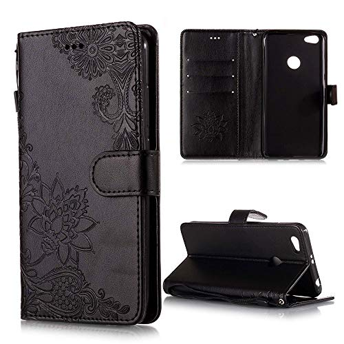 XCYYOO Handyhülle Kompatibel mit Xiaomi Redmi Note 5A Tasche Leder Flip Hülle PU Leder Hülle[Spitzen Blumenmuster] Brieftasche Etui Schutzhülle mit Stand Halter Falten für Xiaomi Redmi Note 5A(Schwarz)