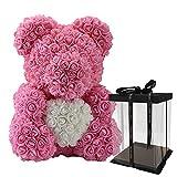 Oso rosa lujoso de 40 cm, oso de peluche rosa, flor artificial rosa, regalo de año nuevo, regalo de cumpleaños de San Valentín para mujeres, con caja de regalo