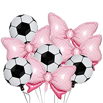8Pack Gender Reveal Party Balloons 4Pcs Pink Bow Foil Balloons 4Pcs Foil Soccer Football Balloons for Throws or Pink Bows Gender Reveal Party Decorations Supplies