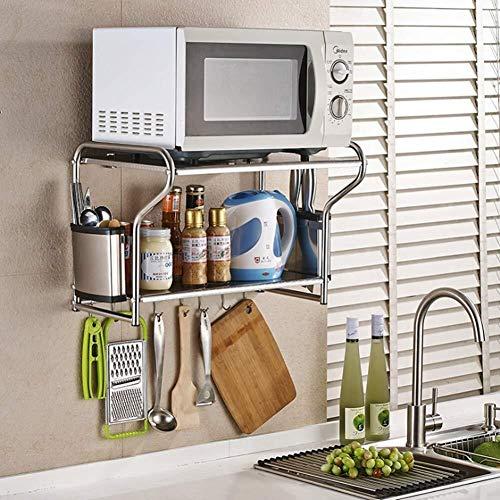 Multifunctionele storage storage rack Kitchen Stand Bracket magnetron wandmontage Plank met 8 verwisselbare haken Praktische Mes Chopsticks Cilinder roestvrij staal, 58cm keuken rekken (Size : 53cm)