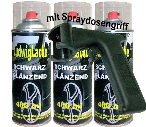 Ludwiglacke 3 Lackspray Schwarz glänzend 400 ml je Spraydose + Spraydosengriff
