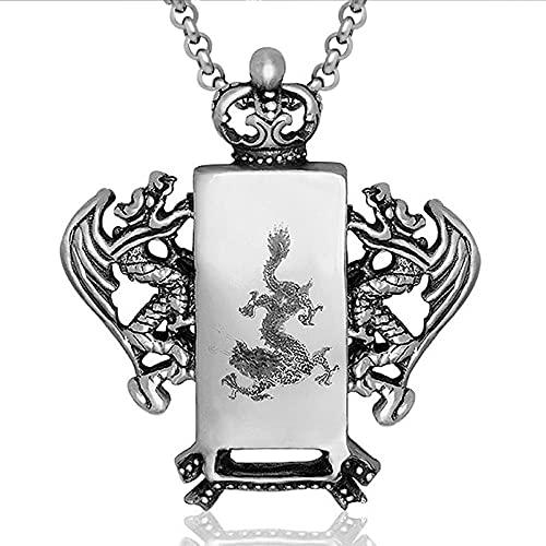 MINGDIAN Colgante de Acero de Titanio Tallado en Forma de dragón de Marea de Acero de Titanio para Hombres de Moda Collar de Alma de dragón dominante de Estilo Chino Retro