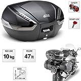 Givi V47NNT Tech - Baúl para Moto con Enganche monokey de 47 litros - Sistema de fijación Monokey - Carcasa con inserción de Carbono - 2 Cascos modulares de 320 x 450 x 590 mm