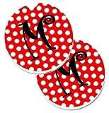 Caroline tesoros de la letra M inicial Monogram rojo negro lunares set de 2cup Holder coche posavasos cj1012-mcarc, 2,56, multicolor