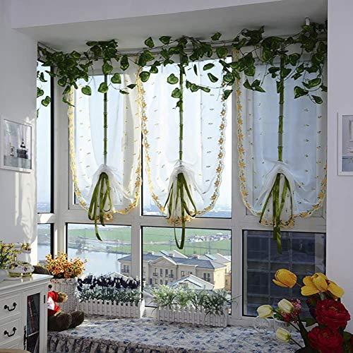 1 Panel Rod Pocket Top Ribbon Tie Up Roman Gordijn Pure Voile Ballon Shades Lift Pure Gordijn Gordijnen Voile Valances voor Store Cafe Kitchen