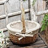 Kamenda Cesta de mimbre tejida a mano con simulación de flores, cesta de flores pequeña, cesta para regalo