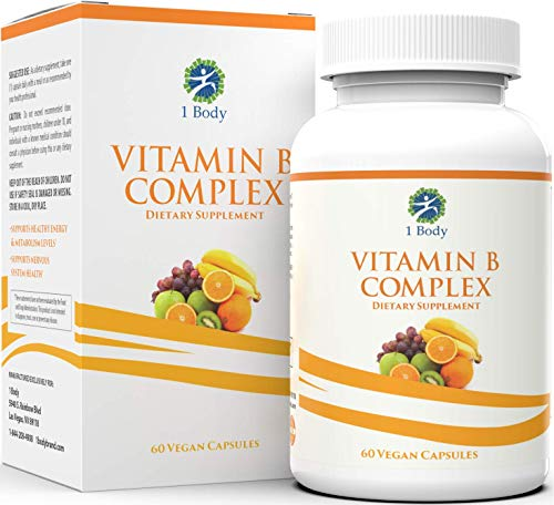Vitamin B Complex – 5-MTHF Folate with B1, B2, B5, B6, Methyl B12, Niacin, Biotin – Wide Range of Benefits for Stress, Heart Health, Nervous System Support, Healthy Brain Function