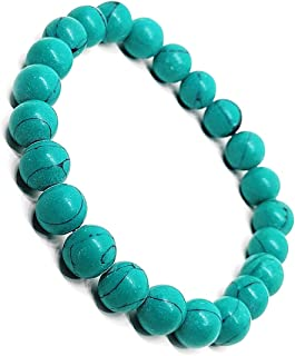 The Bling Stores Natural Original Certified Feroza Turquoise Crystal Reiki/Yoga Healing Stone 8mm Beaded bracelet for Men ...
