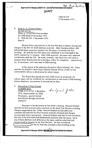 United States Intelligence Board Memo: Discussion of Post Mortem on Middle East (English Edition)